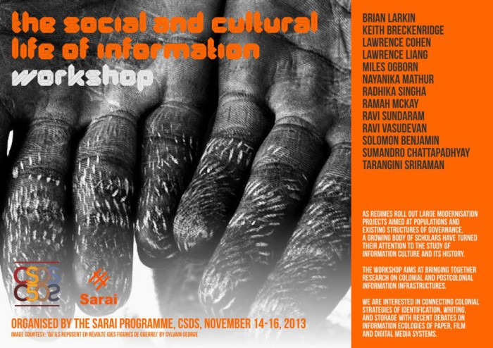 Sarai - The Social and Cultural Life of Information - Workshop Poster