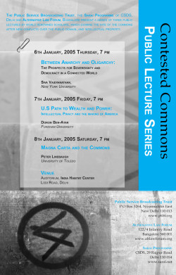 sarai - contested commons trespassing publics - public lectures - poster