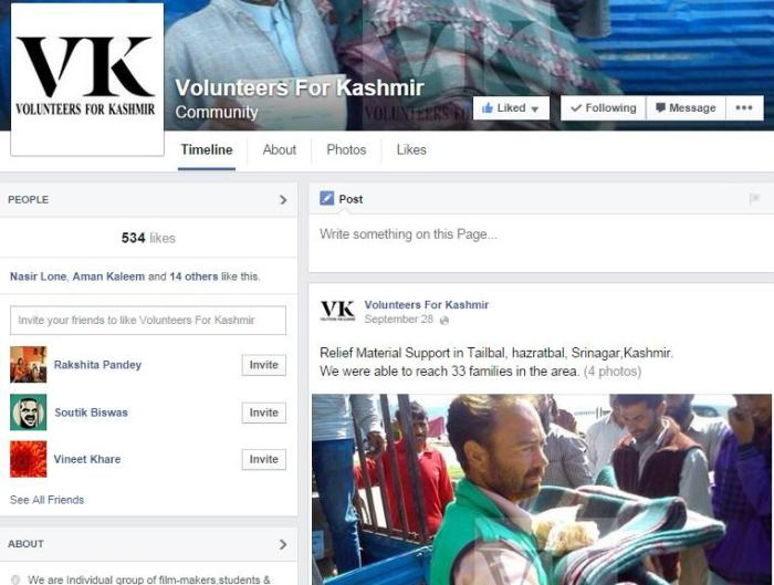 Volunteers for Kashmir - Facebook Page