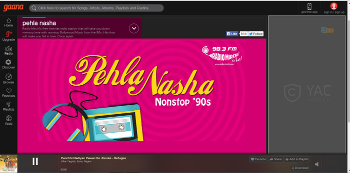 Radio Mirchi's online retro music channel on nineties music Source: gaana.com/radio/pehla-nasha