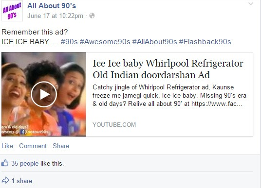 Screen Captures of Facebook Posts on the All About 90s Timeline Source: All About 90s