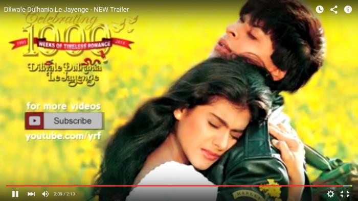 Screen capture from the new trailer for Dilwale Dulhania Le Jayenge. Source: YouTube.com