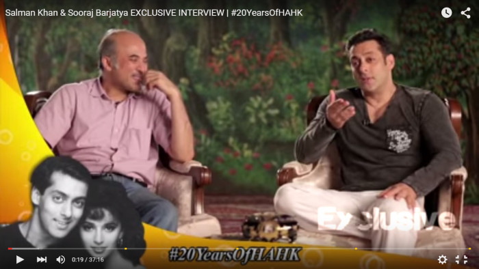 Screen capture from an exclusive interview with director, Sooraj Barjatya and actor, Salman Khan. #20YearsofHANK is prominently foregrounded on the video interface. Source: YouTube.com