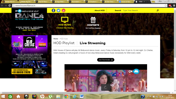 "A screen shot of 9XM House of Dance, ""Ram leela"" remixed and streamed live. Source: www.houseofdance.in"