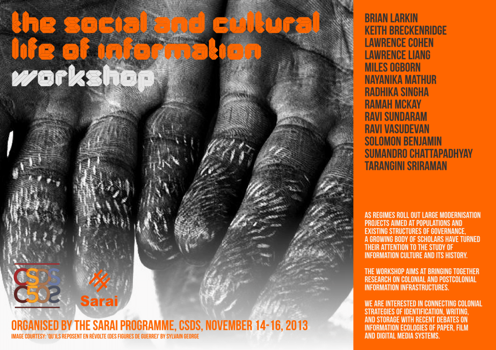 sarai - social and cultural life of information workshop - poster